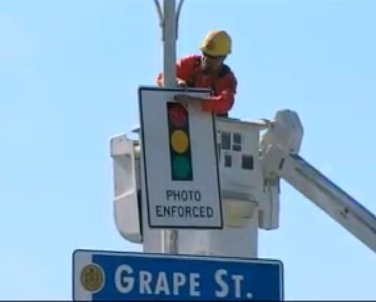 San Diego red light camera sign coming down 2-1-13