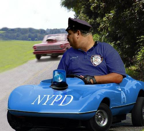 Big Cop in Toy Car